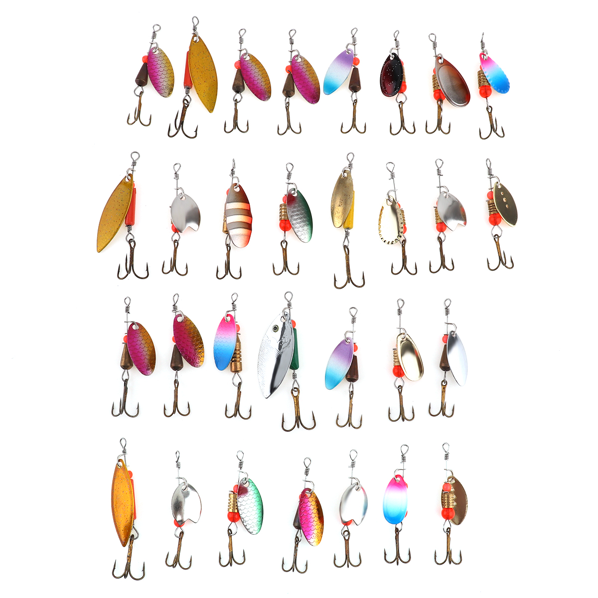 31pcs Assorted Metal Fishing Lures Kit Spinner Spoon Baits Crankbait with Treble Hooks and Plastic Box mymei 9 compartments plastic fishing lures spoon hooks baits hook tackle storage box