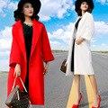 2017 Inverno Nova Moda Temperamento Turn Down Collar Solto Jaqueta Casaco de Lã Longo Das Mulheres Casacos De Lã Mistura