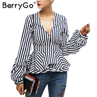 BerryGo Deep V Neck Ruffle Stripe Blouse Shirt Women Tops Casual Streetwear White Blouse Elegant 2017