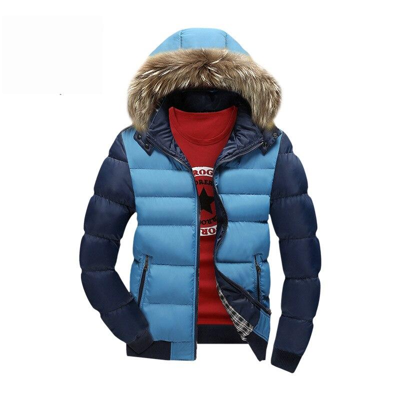 Mens Kış Ceketler 2016 Moda Kontrast erkek Parka Kürk hoodie Erkekler İnce Coat Kış Rahat Kalın Parkas Ceket BJQ709