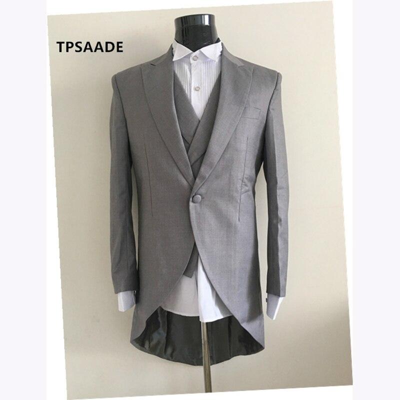 New Arrival Italian men tailcoat gray wedding suits for men groomsmen suit 3 pieces groom wedding suits peaked lapel men suits