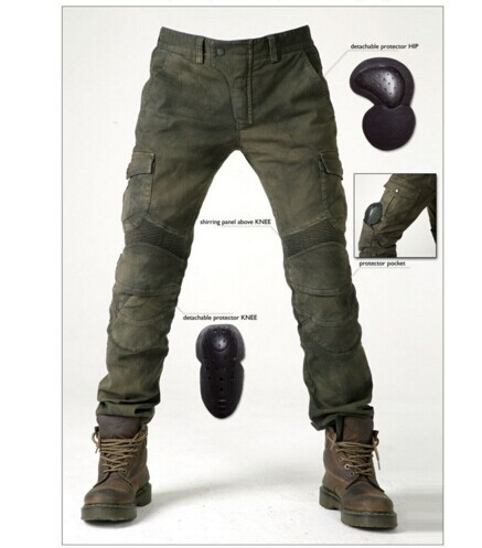NEW 2016 KOMINE MOTORPOOL UBS06 Army Green Slacks jeans Motorcycle ride jeans Leisure Loose Version with protective equipment