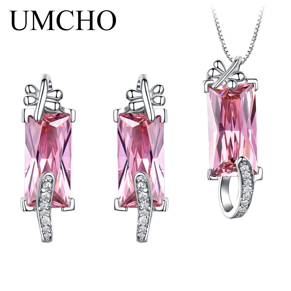 UMCHO 925 Sterling Silver Jewelry Created Pink CZ Earrings Necklace Pendants Elegant Wedding Gifts For Women Fine Jewelry SetsUMCHO 925 Sterling Silver Jewelry Created Pink CZ Earrings Necklace Pendants Elegant Wedding Gifts For Women Fine Jewelry Sets