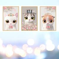150x70CM Multi painting Cute Cat Diamond Painting with New Silk Cloth Soft Canvas 5D DIY Partical Round&Special Drill Home Decor