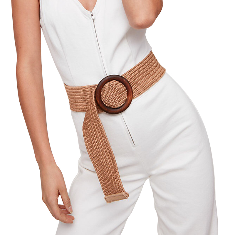 Round Wooden Buckle Dress Belt For Women Casual Braided Wide Strap Female Designer