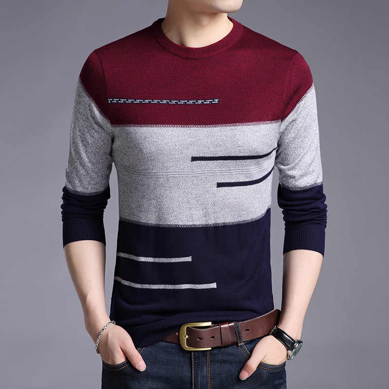 Men's Sweater Long-Sleeve Slimming Round-Neck Autumn Striped Casual New-Fashion And