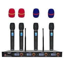 Freeboss FB-U04 4 Way 4 Channels 4 Metal Handhelds for Karaoke KTV Party Dynamic Mic Church Microphone UHF Wireless Microphone