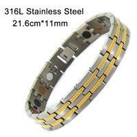 New Design Fashion Health Energy Bracelet Bangle Men Jewelry Titanium Bio Magnetic 5in1 Titanium Gold Silver Bracelet