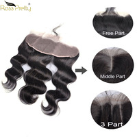 Ross Pretty Brazilian hair Natural Color Remy Body Wave Lace Frontal Human Hair Pre Plucked Ear to Ear Lace Front 13*4