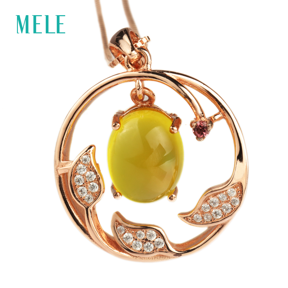 MELE Natural yellow prehnite 925 silver pendant, oval cut 9mmX11mm vivid and lovely pendant for womenMELE Natural yellow prehnite 925 silver pendant, oval cut 9mmX11mm vivid and lovely pendant for women