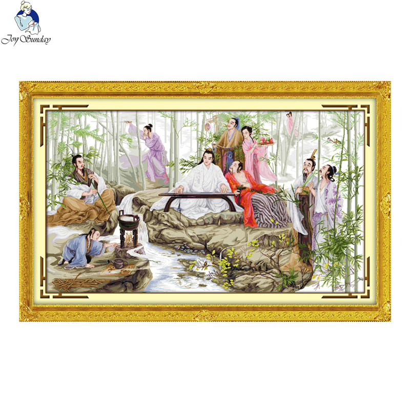 Joie dimanche regarder bambou motif bricolage main point de croix ensemble DMC compté 11CT tissu imprimé 14CT toile broderie couture