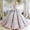 Vestido De Novia 2016 vestido de Luxo Vestido De Casamento Azul com a Mão Feito Flores rosa Ver Através Voltar Vestidos de Noiva Robe de Mariage Plus Size