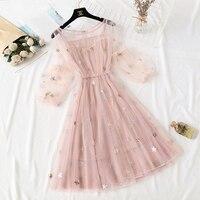 2019 Summer Sweet Fairy Princess Women Dress Elegant Embroidery O Neck Mesh Lantern Sleeve Vestidos Verano A Line Casual Dress