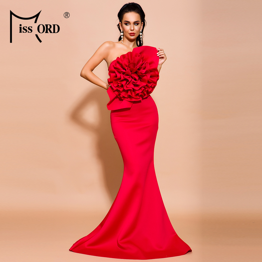 Missord 2020 Women Summer Sexy Off Shoulder Flower Bodycon Dresses Female Solid Color Elegant Maxi Dress FT19608