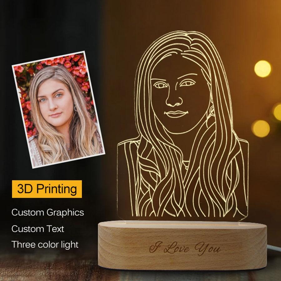 Дропшиппинг индивидуальные 3D ночник USB деревянная база DIY ночник лампа для свадьбы Рождественский подарок праздничный свет пользовательск...