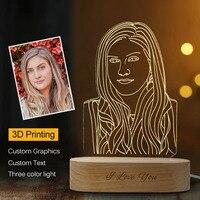 Dropshipping lampada da notte su misura 3D Base in legno USB lampada da notte fai-da-te per foto di testo personalizzata luce regalo di natale matrimonio