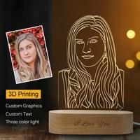 Dropshipping Customized 3D Night Light USB Wooden Base DIY Night Lamp For Wedding Christmas Gift Holiday Light Custom Text Photo