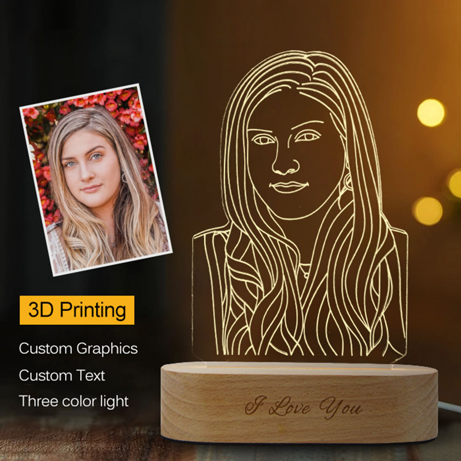 Dropshipping Customized 3D Night Light USB Wooden Base DIY Night Lamp For Wedding Christmas Gift Holiday Light Custom Text Photo image