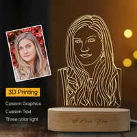 Livraison directe personnalisée 3D veilleuse USB en bois Base bricolage lampe de nuit pour mariage cadeau de noël vacances lumière texte personnalisé Photo