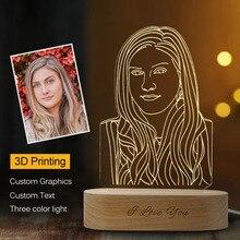 Livraison directe personnalisée 3D veilleuse USB Base en bois bricolage lampe de nuit pour mariage cadeau de noël vacances lumière texte personnalisé Photo