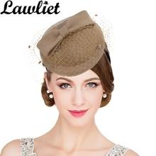 Women Fascinator Hats Vintage Style Australian Wool Pillbox Hat with Bowknot Veil Dress Race Church Wedding Hat Women Headpiece