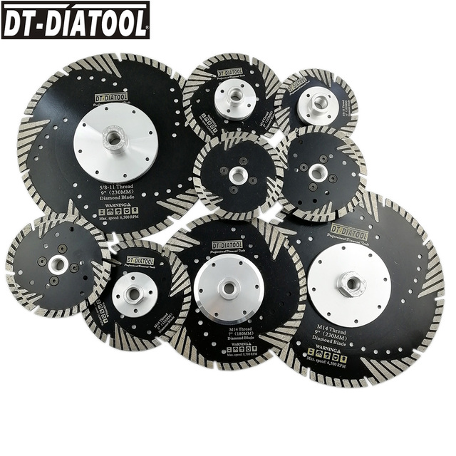 """1pc Hot Pressed Diamond Turbo Blade with Slant Protection Teeth Cutting Disc for Stone Construction Material Concrete Dia 4""""-9"""""""