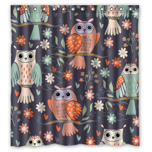 Fashion Fabric Bathroom Curtain Personalized Cartoon Picture Cute Owl on the Branch Shower Curtain 66 * 72 (13 )