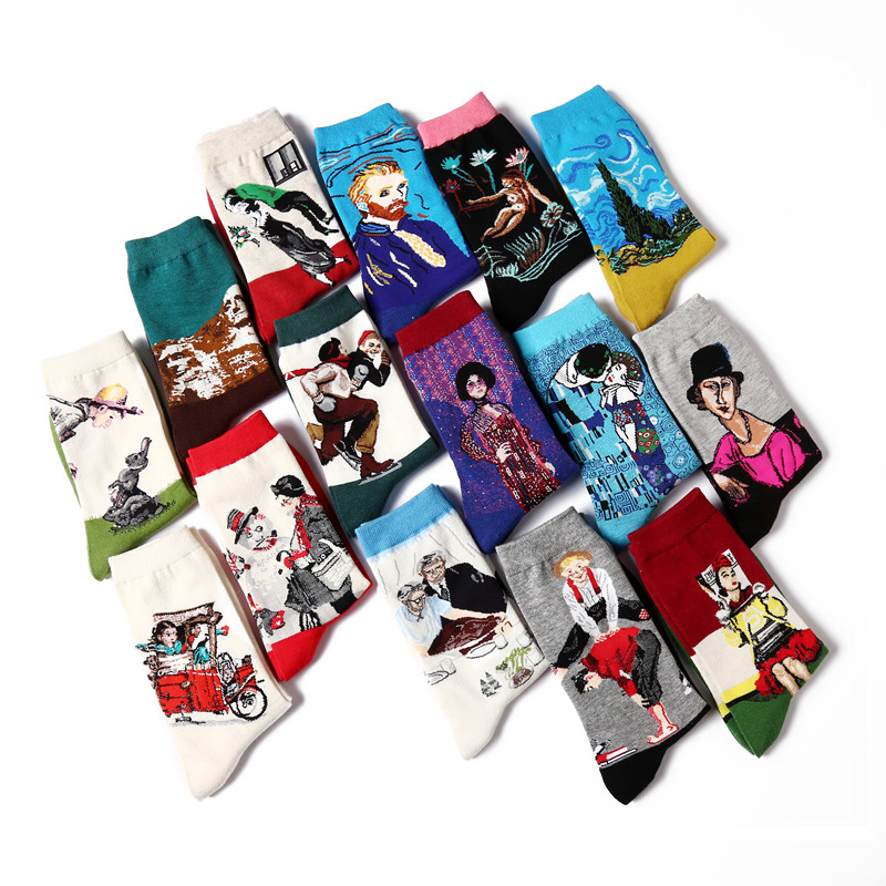 4 Pair/lot Mens Funny Socks Crew Socks Retro Oil Painting Print Cotton Socks Colorful Knitting Men Casual Dress Wedding Gift