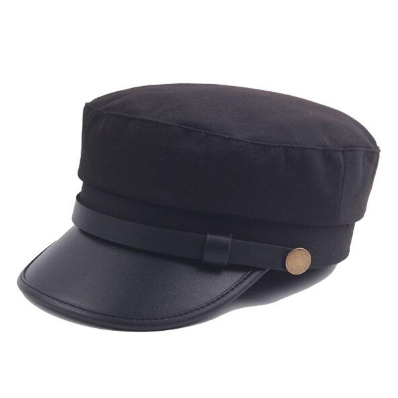 2017 Classico Cappello Militare Berretto Invernale Flat Top Cappelli Nero Grigio Femminile Delle Donne Casquette Gorra Militare Plana Ampie Varietà