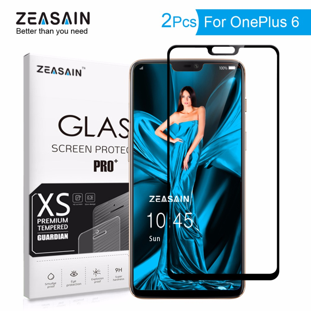 2 Pack Original ZEASAIN Screen Protector For OnePlus 6 One Plus 6 OnePlus6 1+6 Full Cover Tempered Glass 2.5D Real 9H Glass Film