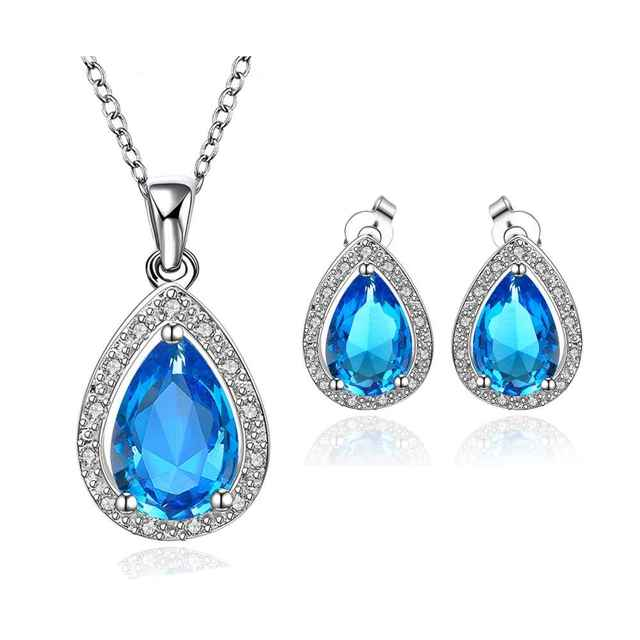 Best Friends GoldenPlated african jewelry set Blue stone jewelry clean love N+E Jewellry sets couponFBLS058