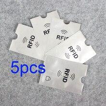 Hot On Sale 5pcs Id Case Protection Metal Credit Card Holder Aluminium Anti Rfid Wallet Blocking Reader Lock Bank Card Holder