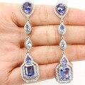 Rico longo Azul Quartzo Violeta, branco CZ SheCrown Criado de Casamento da Mulher 925 Brincos de Prata 64x15mm
