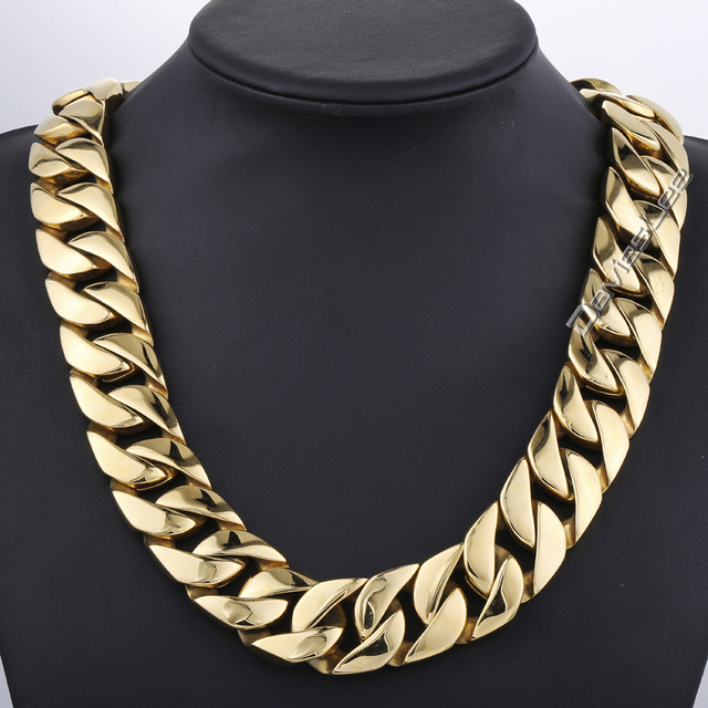 24mm 316L Stainless Steel Mens Chain Super Heavy Thick Gold Tone Flat Round Curb Customized Necklace Wholesale Jewelry LHN71