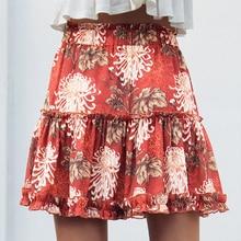 f9de55486f36 Boho Floral Print Beach Skirt Elastic Waist Tiered Ruffle Mini Chiffon  Short Skirt Women Pleated Skirt