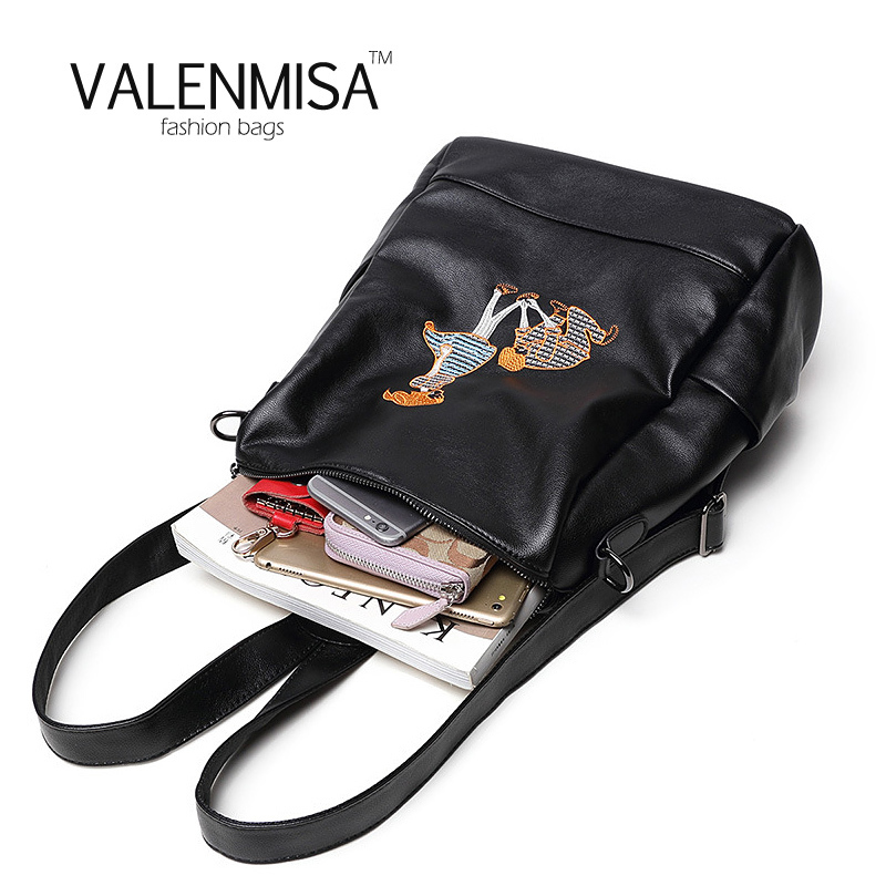VALENMISA Brand Black Genuine Leather Backpack Women's Designer School Bags For Teenage Girls Travel Bag Mochilas Femininas 2017 sendefn genuine leather backpack large capacity rivet black shoulder bag women casual backpack teenage girls school travel bags