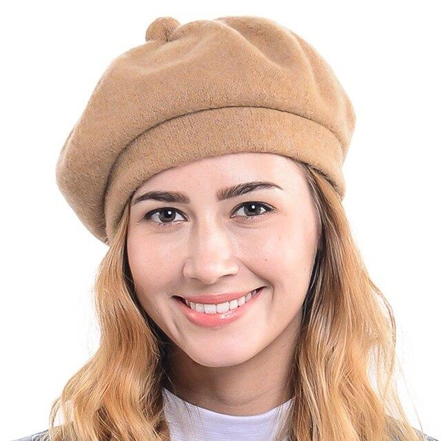 34d21362ebbf4 Mujeres 100% de Lana de La Boina Francesa FORBUSITE Cabbie Beret Beanie  Sombrero de Invierno