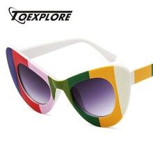 a3c4a3012293db TOEXPLORE Grand Cadre cat eye lunettes de Soleil Hommes Femmes Marque  Designer Lunettes Miroir Lunettes de Soleil de luxe Nouvea.