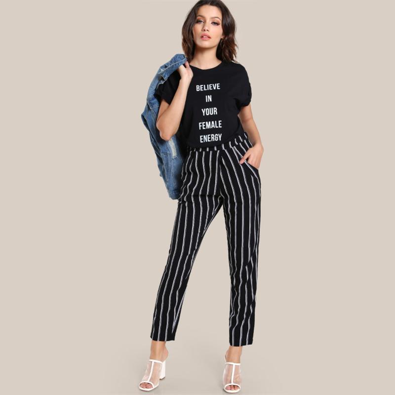 3d6e9a801f SHEIN Elastic Waist Striped High Rise Peg Pants Pocket High Waisted ...