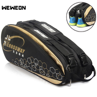 9Pcs Professional Racquet Sports Bag Large Badminton Bags Tennis Backpack 2019 Tennis Racket Bag For Shoes Badminton Accessories