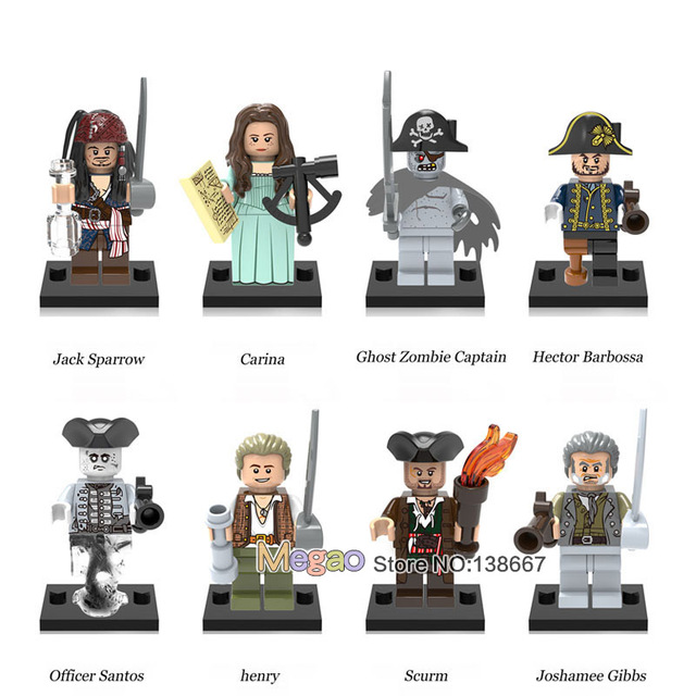 0b59aa7df24b2 Single Sale Pirates of the Caribbean Jack Sparrow Ghost Zombie Captain  Hector Barbossa Building Blocks Children Gift Toys