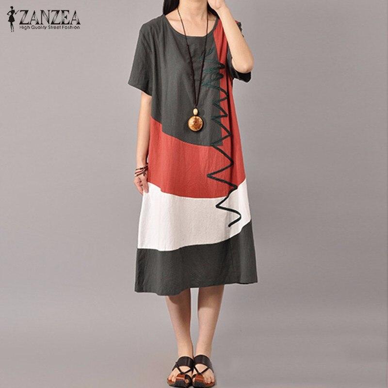 Buy Cheap ZANZEA Women Vintage Print Dress 2016 Summer Ladies O Neck Short Sleeve Splice Casual Loose Dress Mid-Calf Vestidos Plus Size