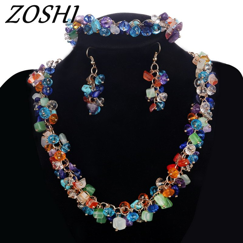 ZOSHI Colorful Geometric Natural Stone Chocker Necklace Bracelet Earrings 3pcs African Beads Gold Jewelry Sets For Women characteristic rhinestoned geometric beads pendant necklace for women