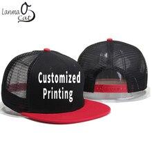 Lanmaocat Men Women Net Cap Custom Print Mesh Hip Hop Caps Fashion Style Summer Hat Children Snap back Customized Free Shipping