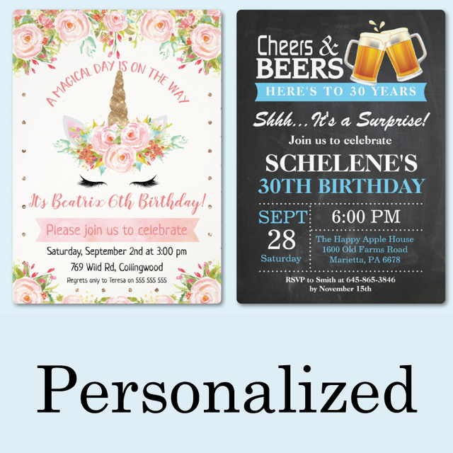 20 Pieces, Birthday Invitations Cards Party Personalized Custom