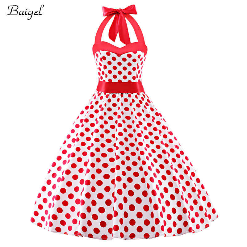 1d5820bba37 Womens Halter White Cherry and Polka Dot Dress 1950s 40s Robe Vintage Retro  Style Rockabilly Pinup Swing Summer Dress for Woman-in Dresses from Women s  ...