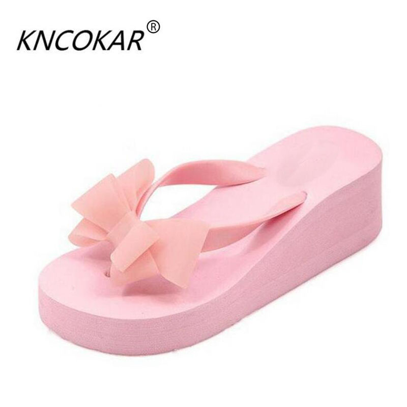 Hot! New Fashion Summer Women Platform High Heel Flip Flops Beach Sandals Bowknot Slippers Women Shoes Size36-40 For Choice