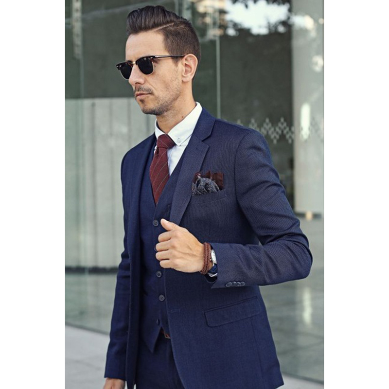 Haute Gilet De Smoking Hommes Bureau Style 3 Costume Made Cravate custom The Qualité Image Costumes Bleu veste Italien Revers Pantalon Pièces D'affaires As Cran 2017 Marine O8Hwq5