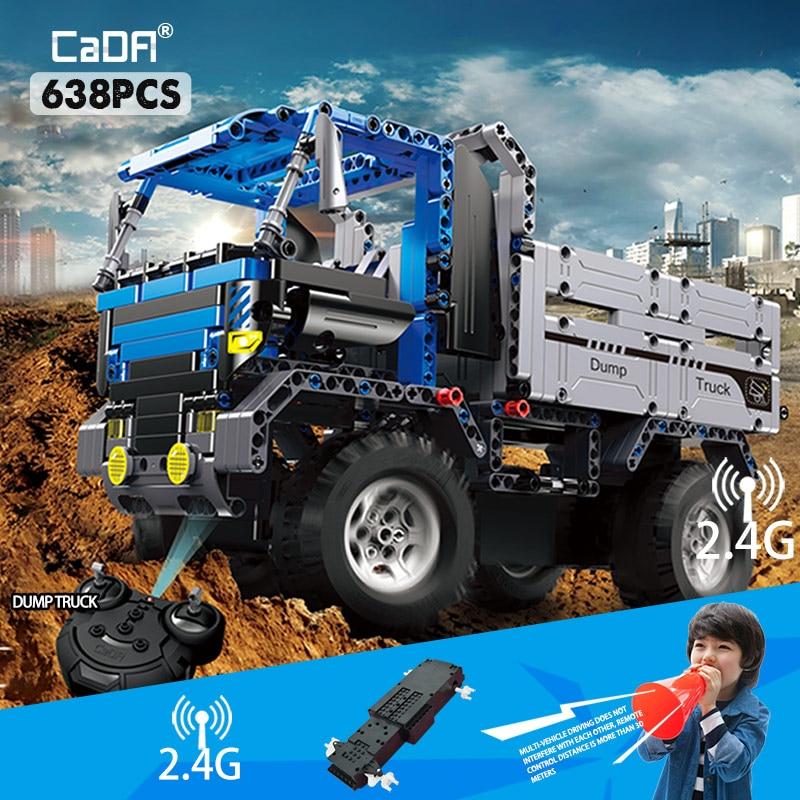 cada 638 pcs rc controle remoto caminhao basculante blocos de construcao compativel cidade tecnica carro veiculo
