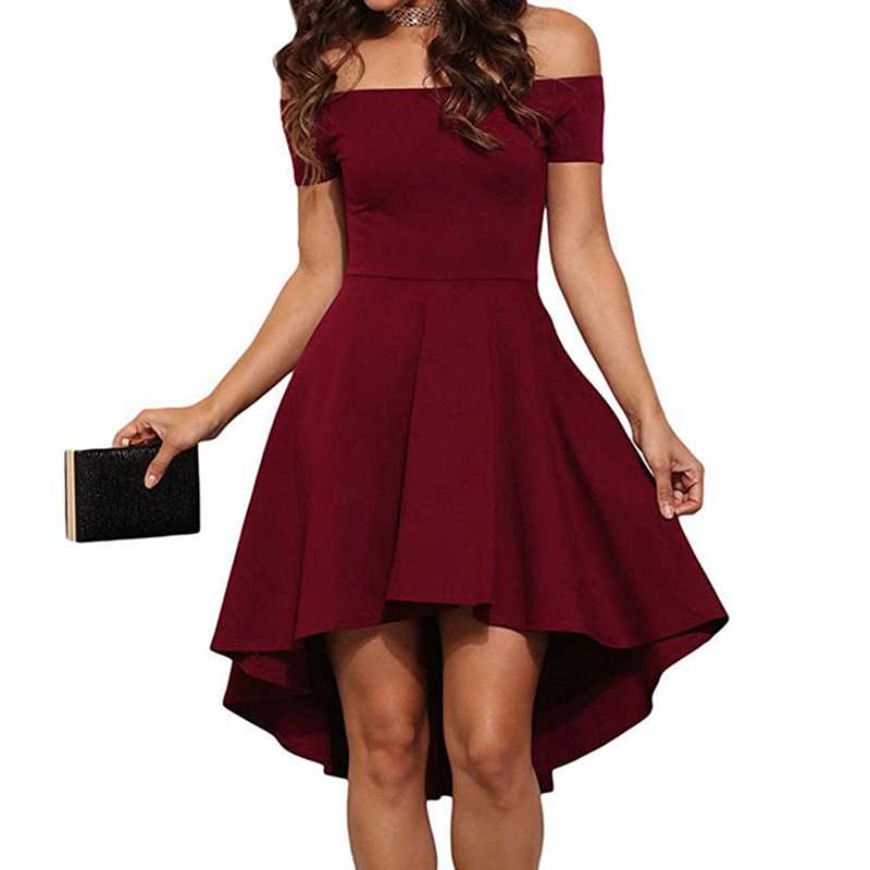 Sexy Off the Shoulder Asymmetrical Hem Summer Dress 2018 Women Elegant Solid Slash Neck Dress Tuxedo Plus Size